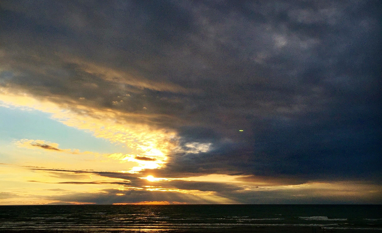 A cloudy sunset over Lake Michigan