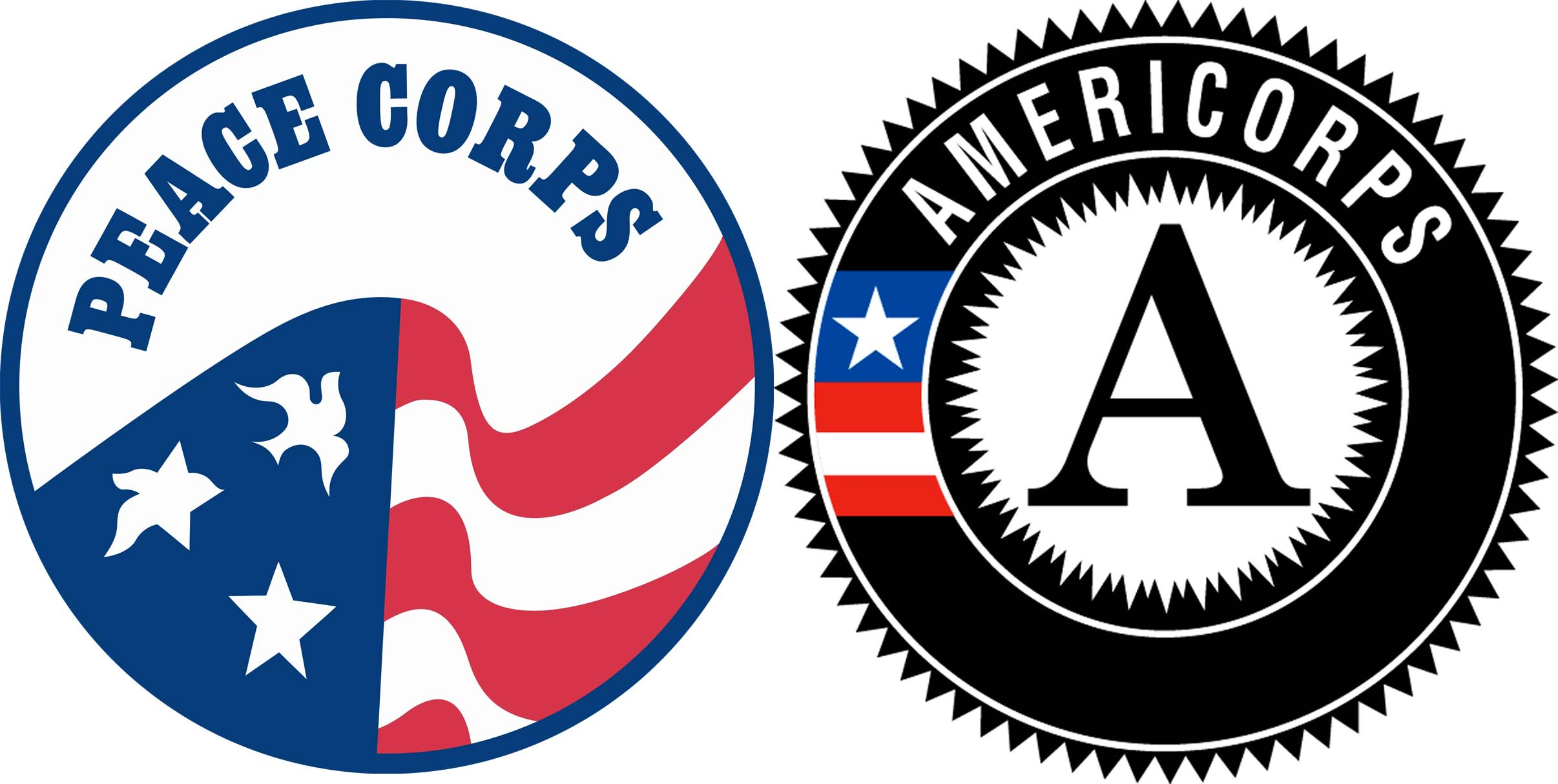 Logos of the Peace Corps and Americorps side by side
